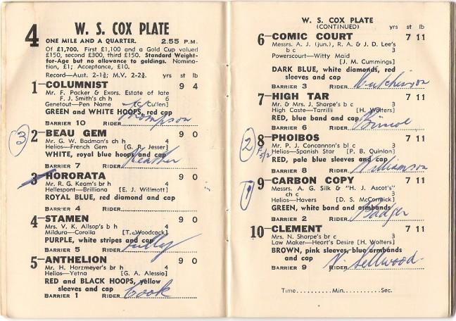 1948 Cox Plate Racebook