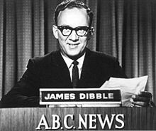James Dibble reading the first ABC television news in 1956. Attribution: Wiki Commons
